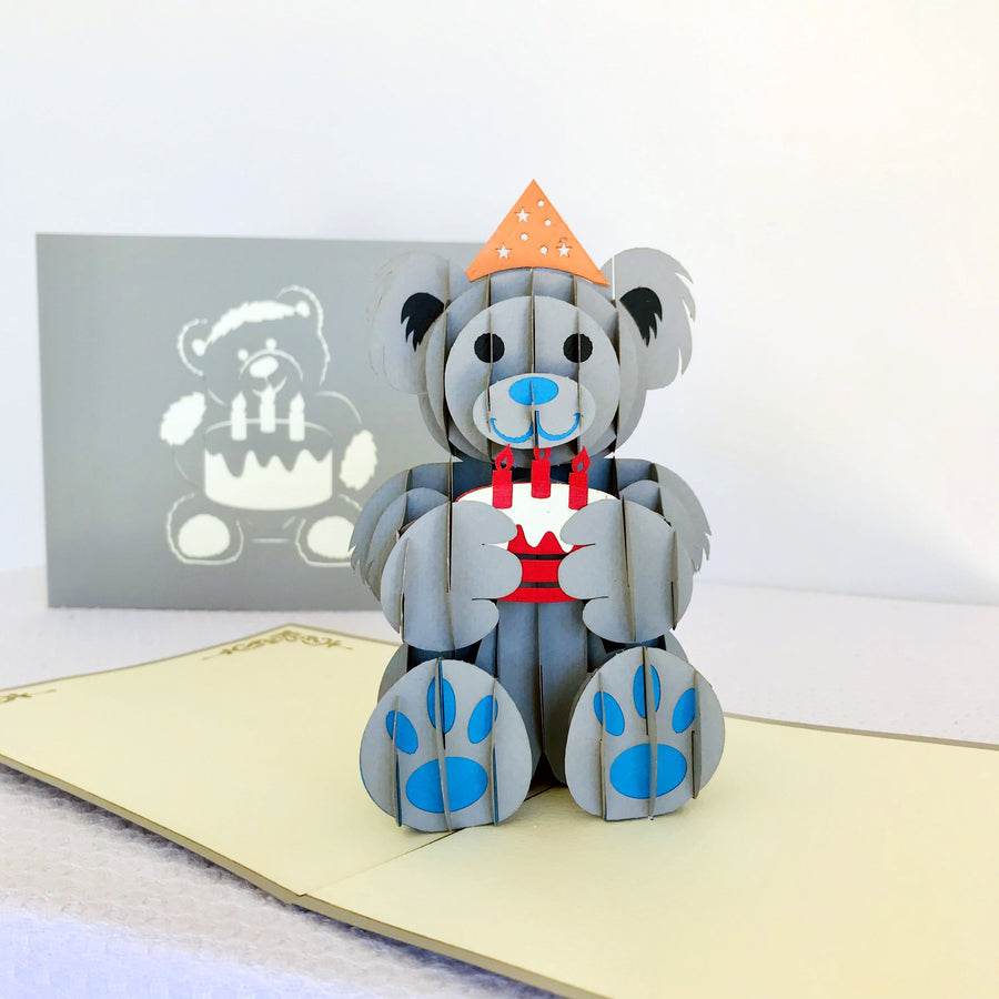 Handmade Happy Birthday Grey Teddy Bear Pop Up Card - Online Party Supplies
