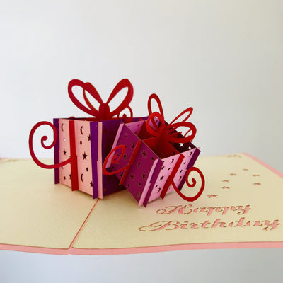 Handmade Happy Birthday Pink and Purple Present Boxes Pop Up Card - Online Party Supplies
