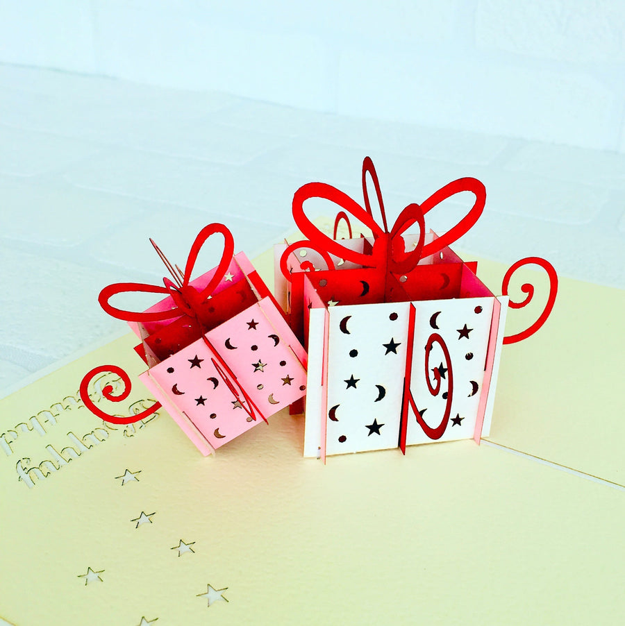 Handmade Happy Birthday Pink and White Present Boxes Pop Up Card - Online Party Supplies