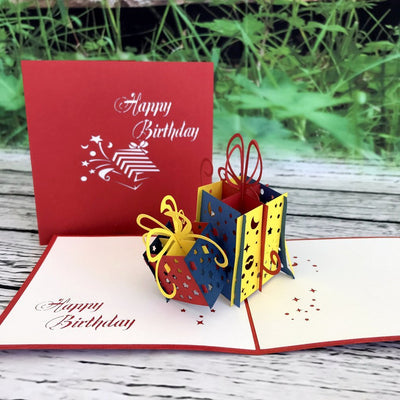 Handmade Happy Birthday Present Gift Pop Up Card - Online Party Supplies