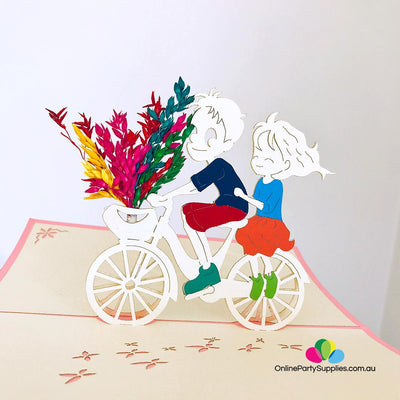 Handmade Happy Couple On Bicycle 3D Pop Up Card - Online Party Supplies