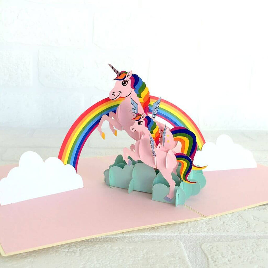 Handmade Online Party Supplies Rainbow Unicorn Mum and Baby Pop Up Greeting Card
