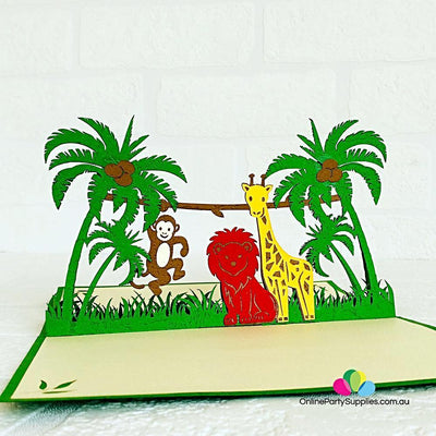 Handmade Jungle Animals 3D Pop Up Card - Online Party Supplies