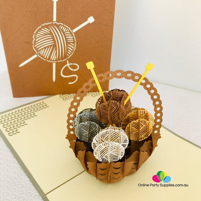Handmade Knitting Yarn Basket Brown Cover Pop Up Greeting Card - Online Party Supplies