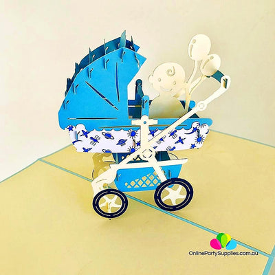 Handmade Large Blue Pram Pop Up Card - Online Party Supplies