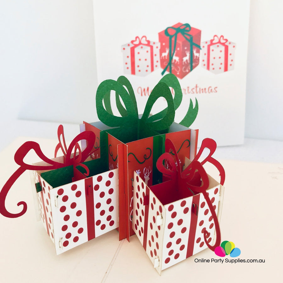 Handmade Large Christmas Present Boxes Pop Up Greeting Card - Online Party Supplies