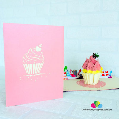 Handmade Large Cupcake 3D Pop Up Birthday Card - Online Party Supplies