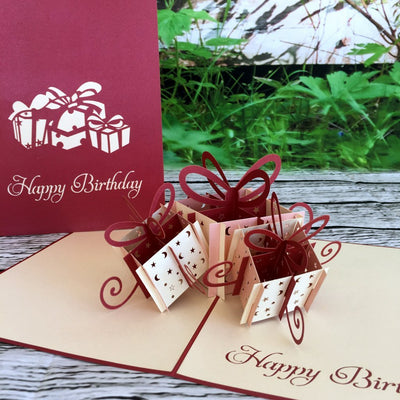 Handmade Large Happy Birthday Present Box Pop Up Card - Online Party Supplies