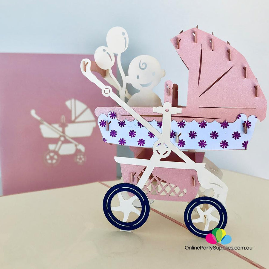 Handmade Large Pink Pram Pop Up Baby Shower Card - Online Party Supplies
