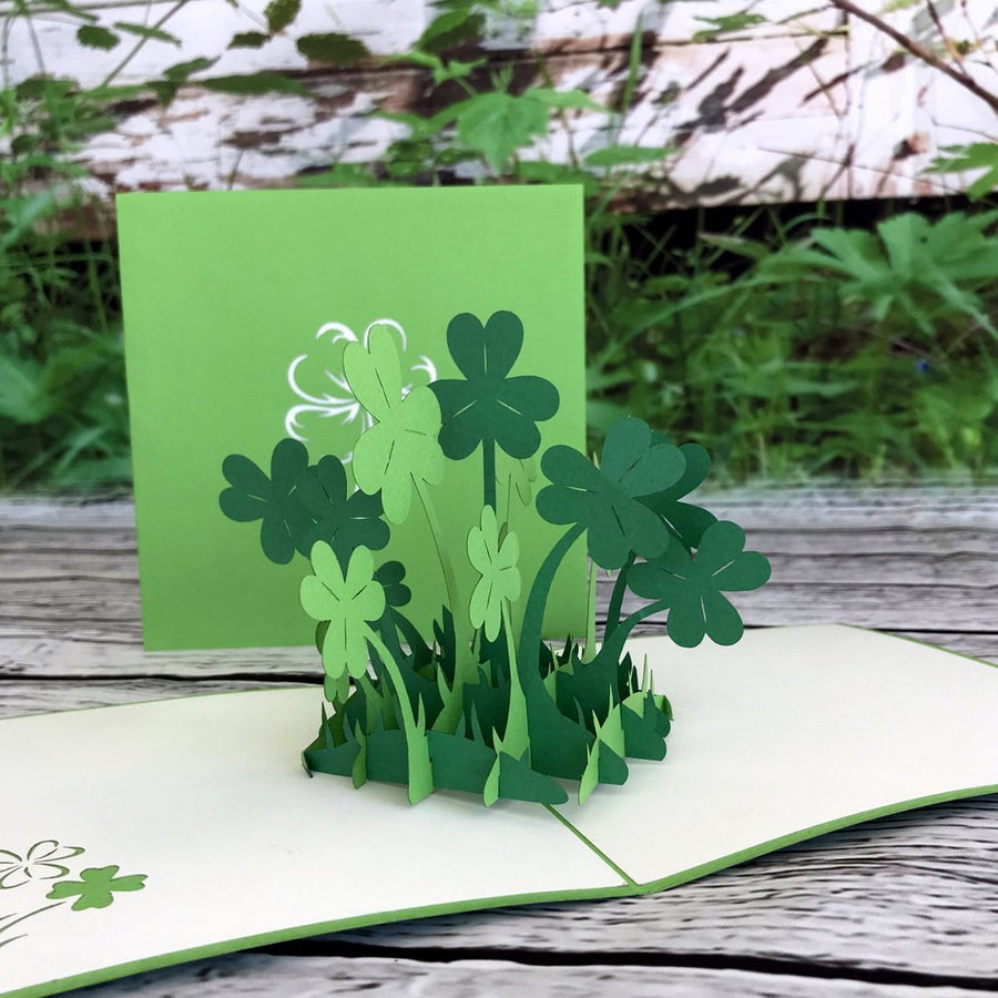 Handmade Lucky Four Leaf Clover Pop Up Greeting Card - Online Party Supplies