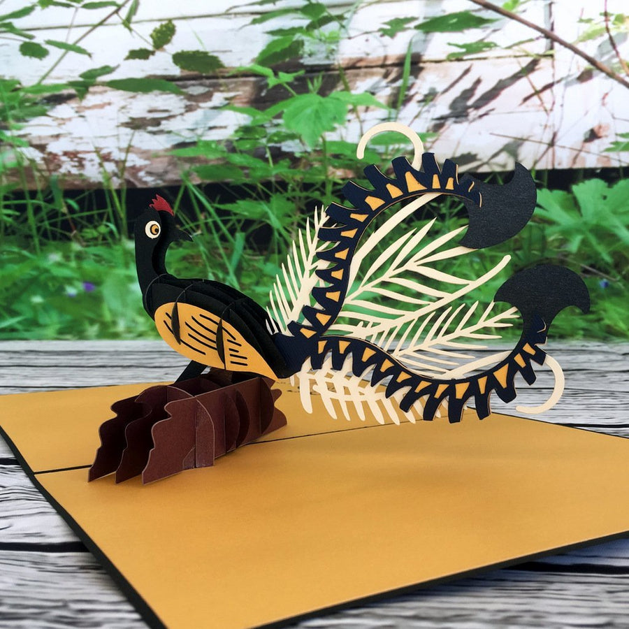 Handmade Metallic Australian Native Gold and Black Lyrebird Pop Up Greeting Card - Online Party Supplies