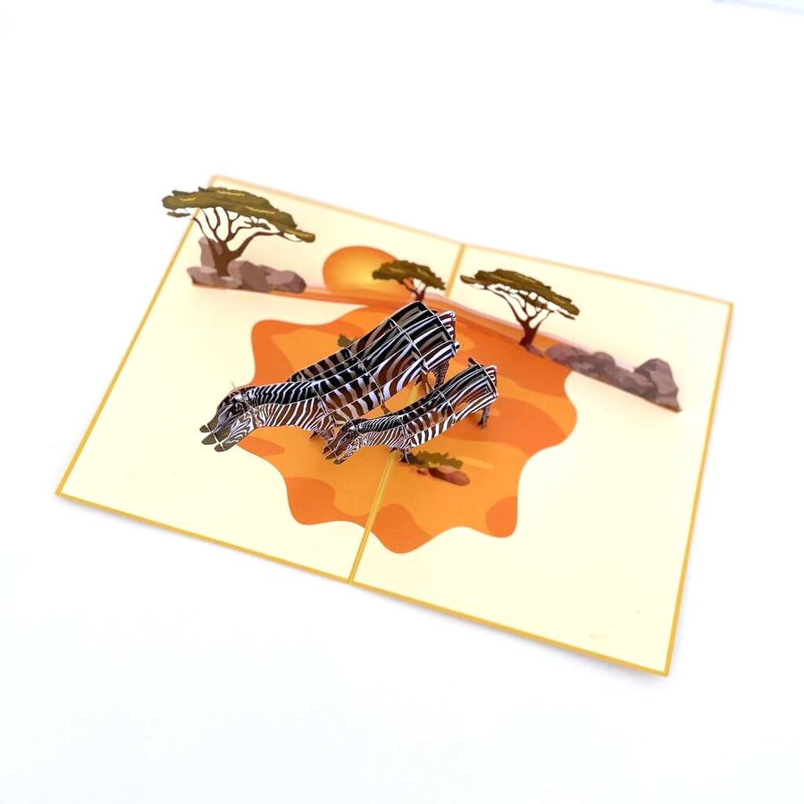 Handmade Mother and Baby Zebra in Safari 3D Pop Up Greeting Card - Safari Animal Themed Party Invitations