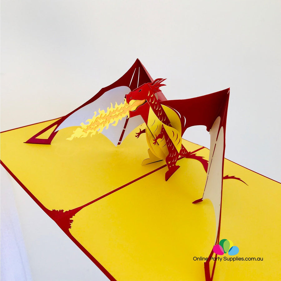 Handmade Mystical Fire Breathing Red Dragon 3D Pop Up Greeting Card - Online Party Supplies