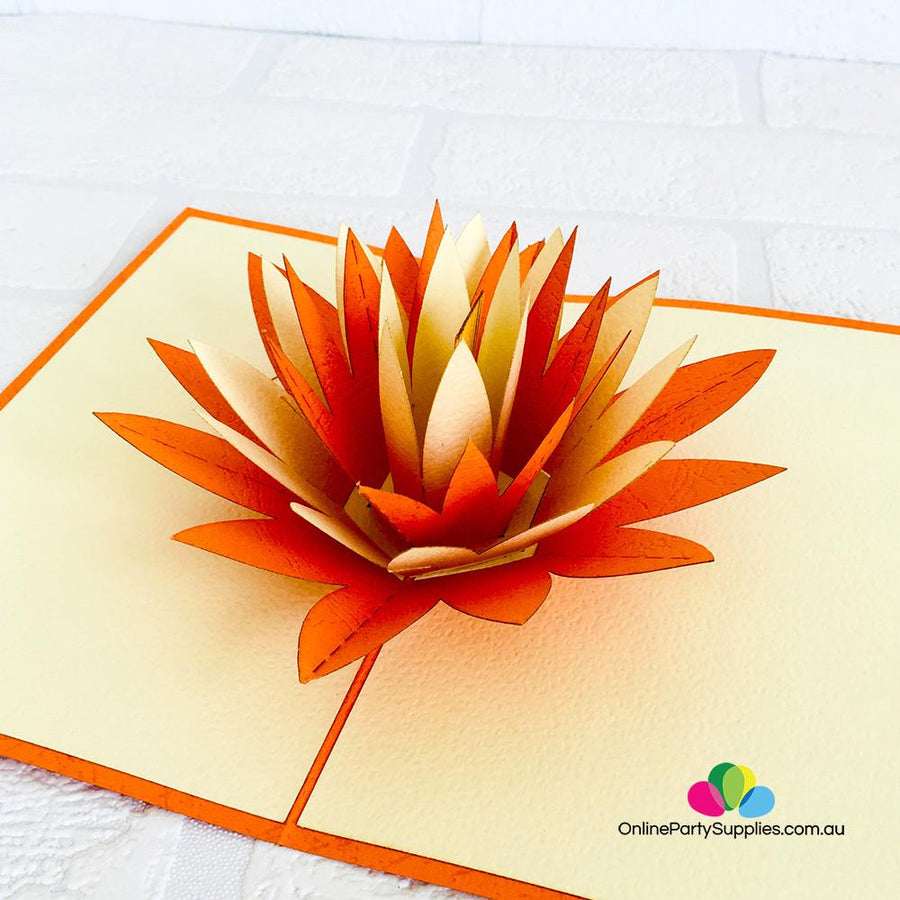 Handmade Orange and White Lotus Flower Pop Up Card