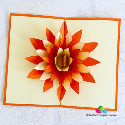 Handmade Orange and White Lotus Flower Pop Up Card - Online Party Supplies