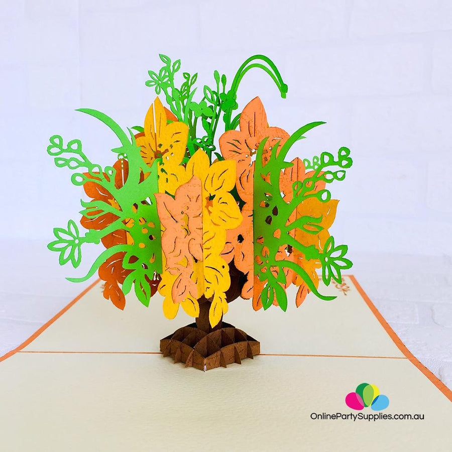 Handmade Orange & Green Flower Bouquet 3D Pop Up Card
