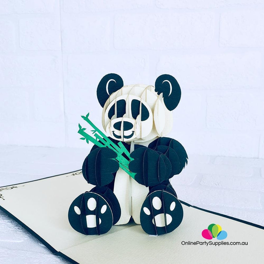 Handmade Panda Bear 3D Pop Up Greeting Card - Online Party Supplies