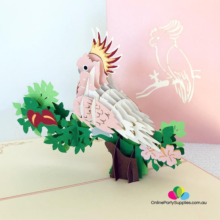 Handmade Pink Cockatoo Pop Up Greeting Card - Online Party Supplies