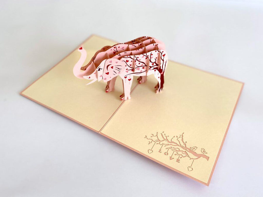 Pink Elephant with Red Heart Tree 3D Pop Up Greeting Card