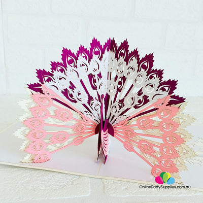 Handmade Pink Peacock Pop Up Greeting Card - Online Party Supplies