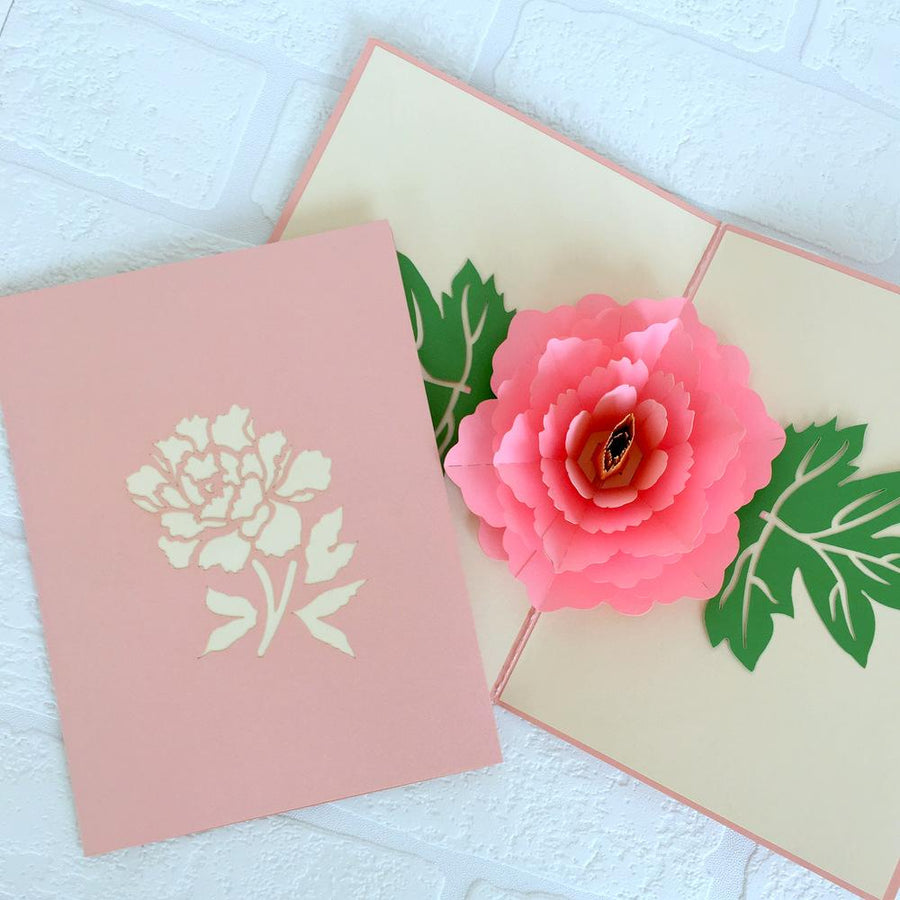 Handmade Pink Peony Flower Pop Up Greeting Card
