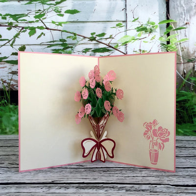 Handmade Pink Rose Bouquet 3D Pop Up Greeting Card - Online Party Supplies