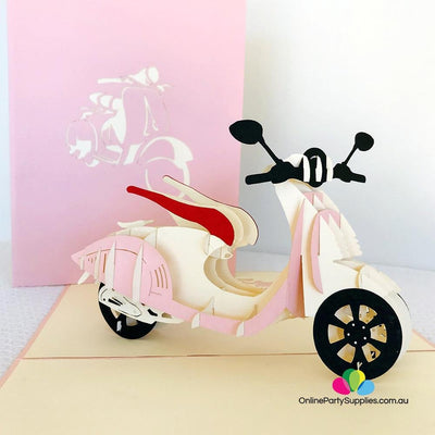 Handmade Pink Vespa Pop Up Card - Online Party Supplies
