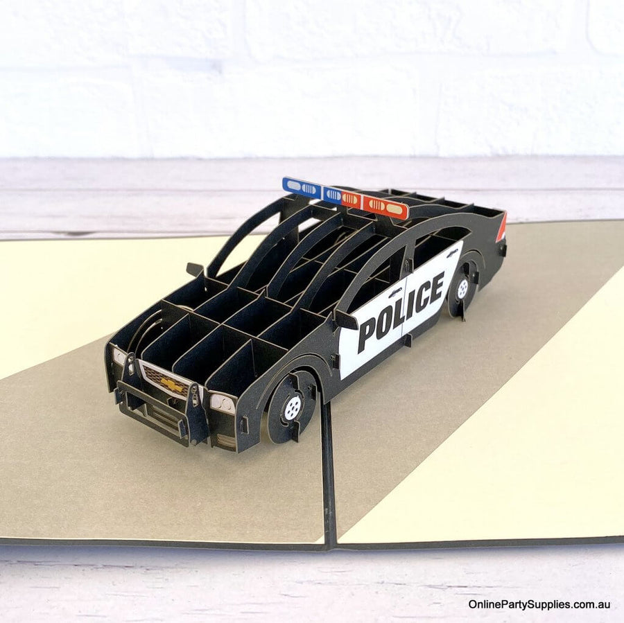 Handmade 3D Police Car Pop Up Emergency Transportation Vehicle Greeting Card
