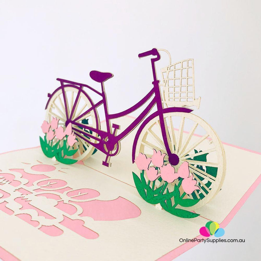 Handmade Purple Bicycle Pop Up Card - Online Party Supplies