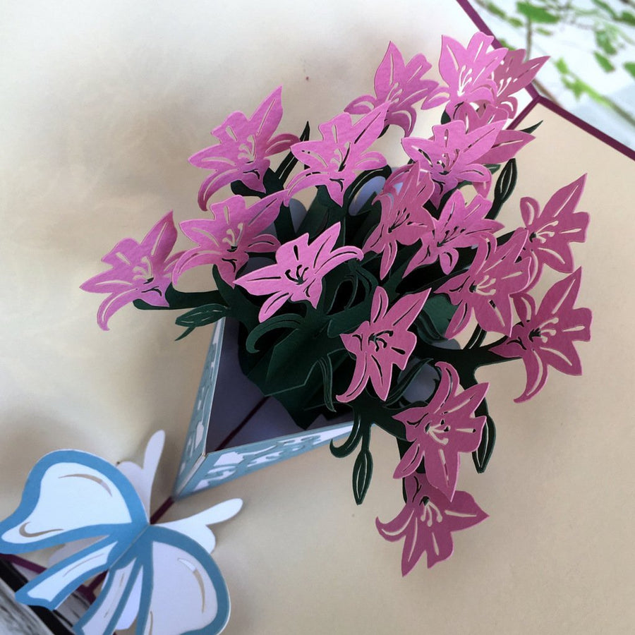 Handmade Purple Lily Bouquet 3D Pop Up Card - Online Party Supplies