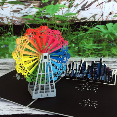 Handmade Rainbow Ferris Wheel 3D Pop Up Card - Online Party Supplies
