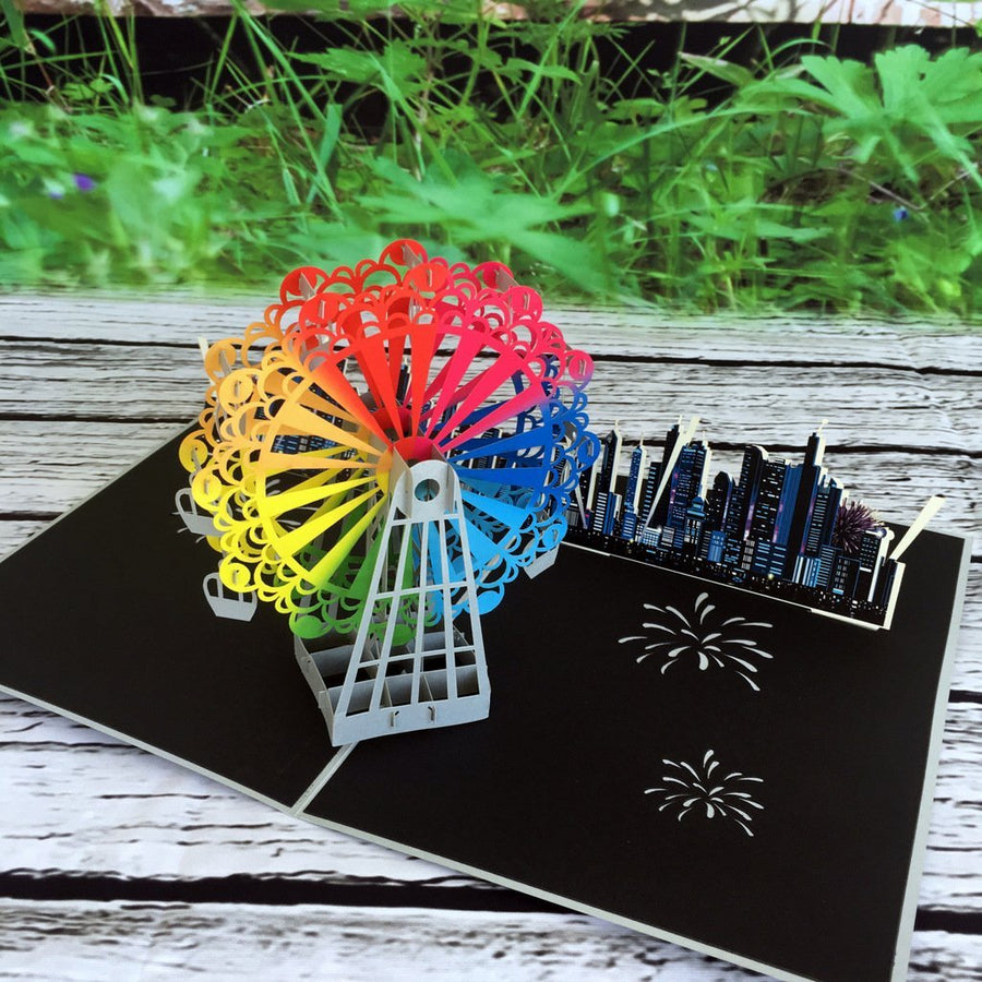 Handmade Rainbow Ferris Wheel 3D Pop Up Card