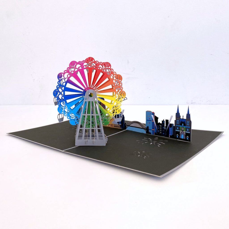 Handmade Rainbow Ferris Wheel with Sydney Harbour View 3D Pop Up Greeting Card