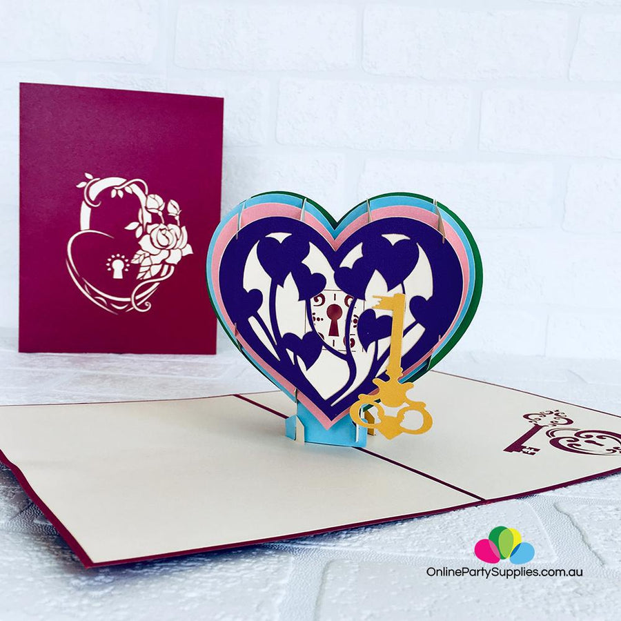 Handmade Rainbow Heart With Golden Key 3D Pop Up Card