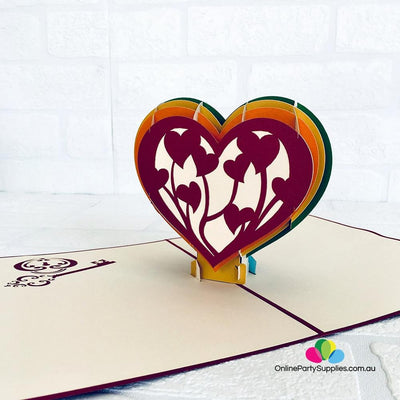 Handmade Rainbow Heart With Golden Key 3D Pop Up Card - Online Party Supplies