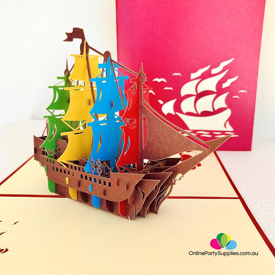 Handmade Rainbow Pirate Ship Pop Up Card