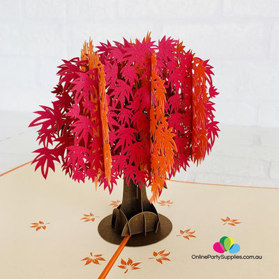 Handmade Red and Orange Japanese Maple Tree 3D Pop Up Card - Online Party Supplies