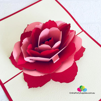 Handmade Red and Pink Rose Flower Pop Up Card - Online Party Supplies