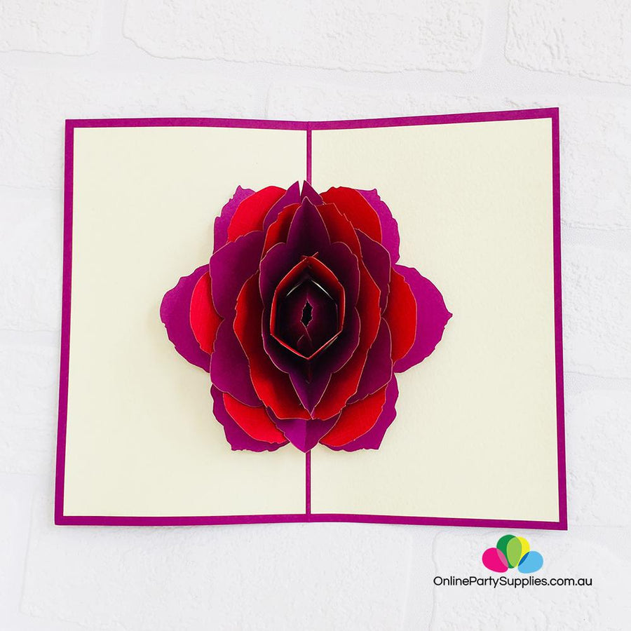 Handmade Red and Purple Rose Flower Pop Up Card - Online Party Supplies