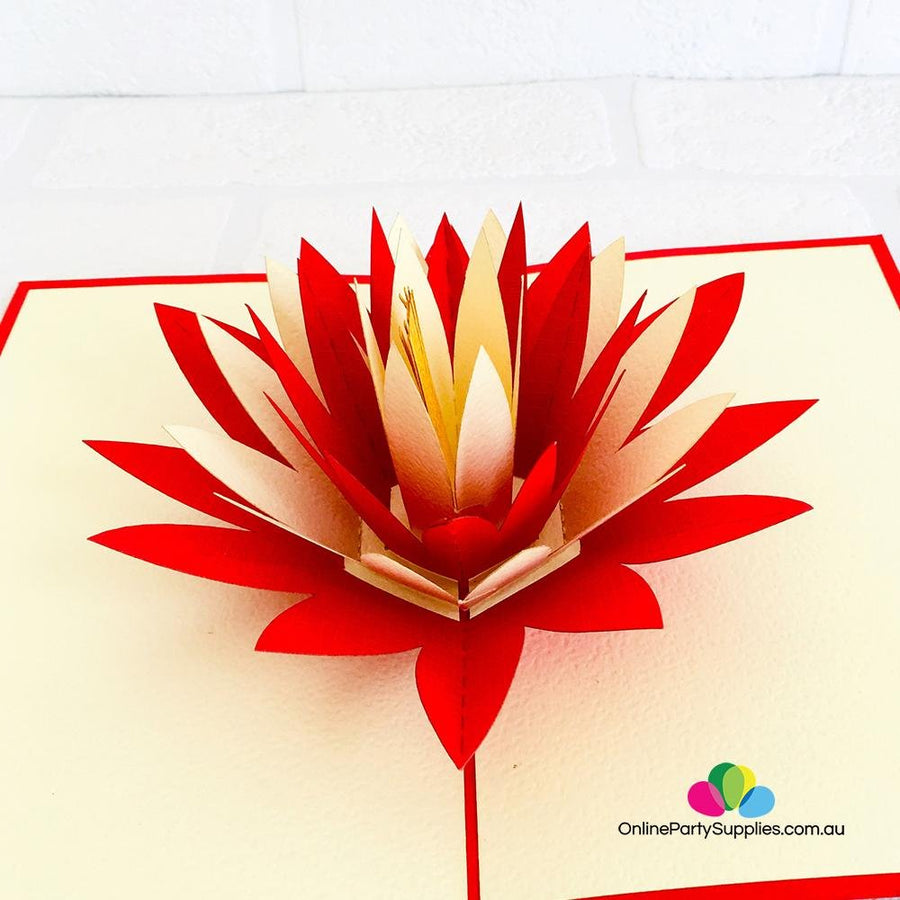 Handmade Red and White Lotus Flower Pop Up Card - Online Party Supplies