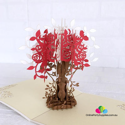 Handmade Red and White Rose Tree 3D Pop Up Valentine's Day Card - Online Party Supplies