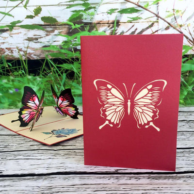 Handmade Red Butterfly Pop Up Greeting Card - Online Party Supplies