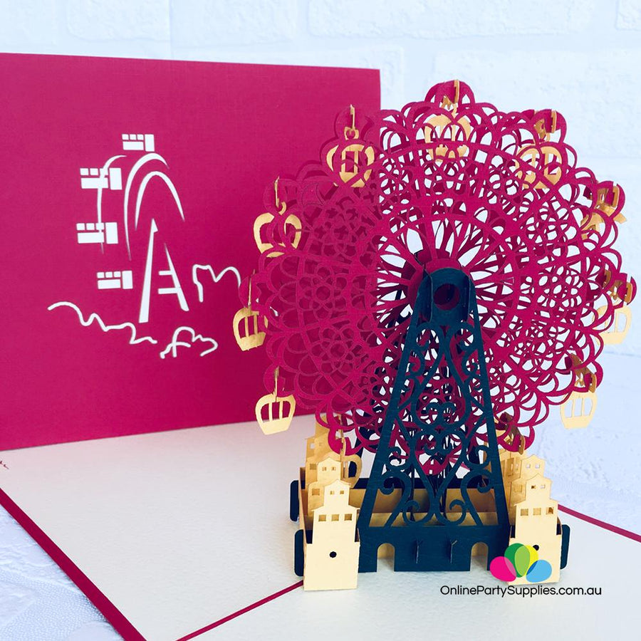 Handmade Red Ferris Wheel 3D Pop Up Card - Online Party Supplies
