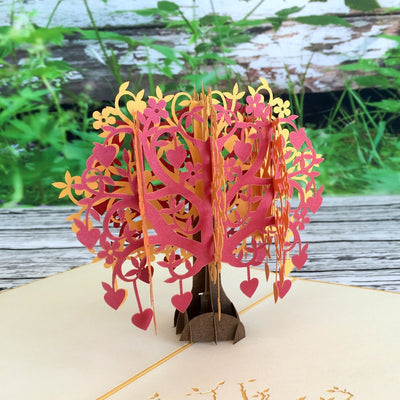 Handmade Red Gold Tree Of Love Hearts 3D Pop Up Card - Online Party Supplies