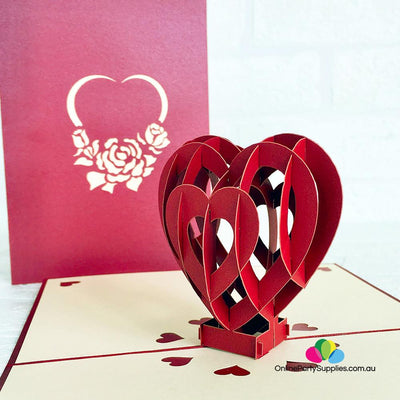 Handmade Red Heart 3D Pop Up Valentine's Day Card - Online Party Supplies