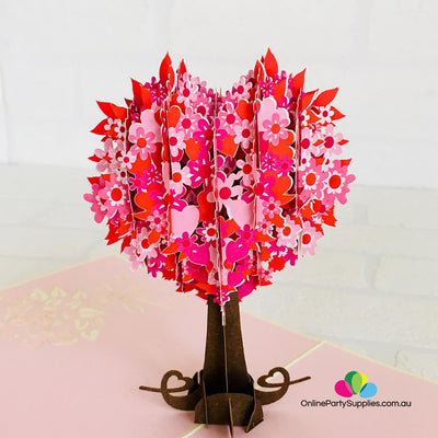 Handmade Red Heart Tree 3D Pop Up Card - Online Party Supplies