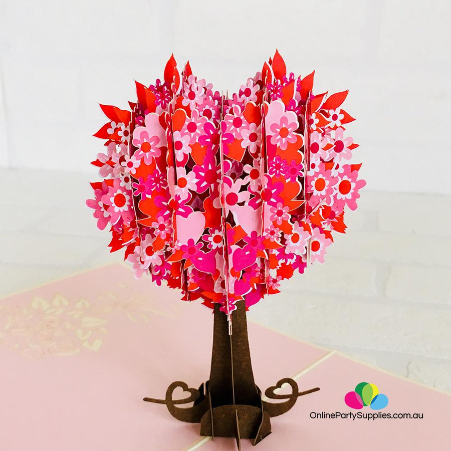 Handmade Red Heart Tree 3D Pop Up Card
