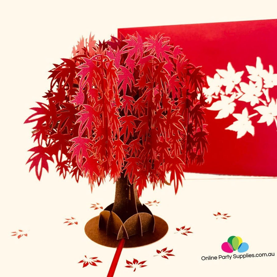 Handmade Red Japanese Maple Tree 3D Pop Up Card - Online Party Supplies