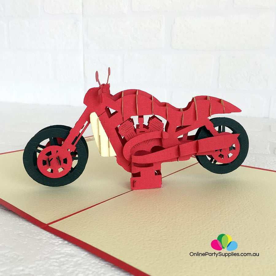Handmade Red Motorcycle Pop Up Card