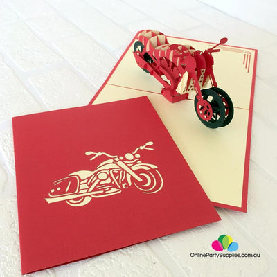 Handmade Red Motorcycle Pop Up Card - Online Party Supplies